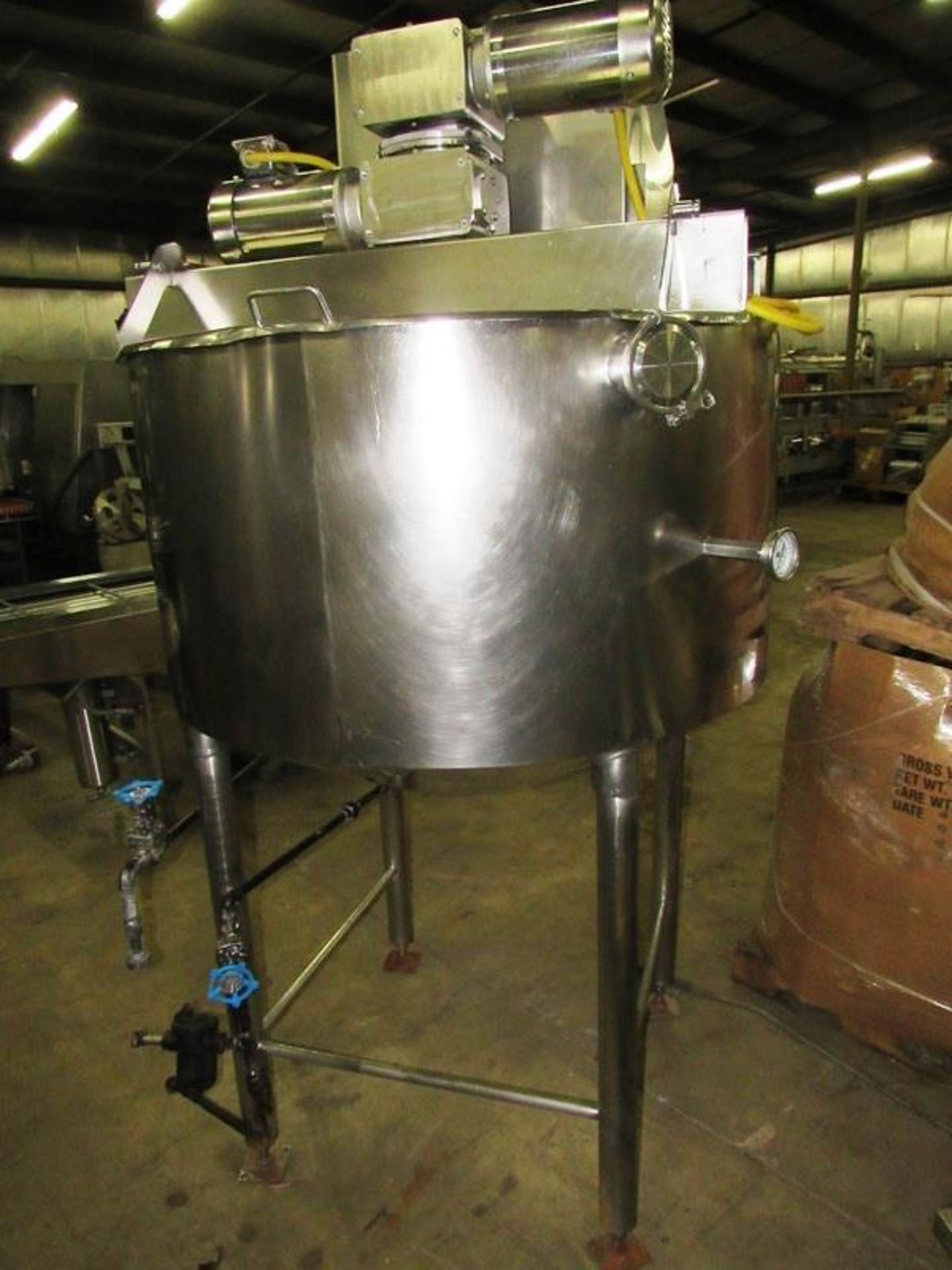 "Lot 9 - Chester Jensen Mdl. X70N5 Stainless Steel 150 Gallon Kettle, 44"" Dia. X 3' D , cone bottom, 3"""