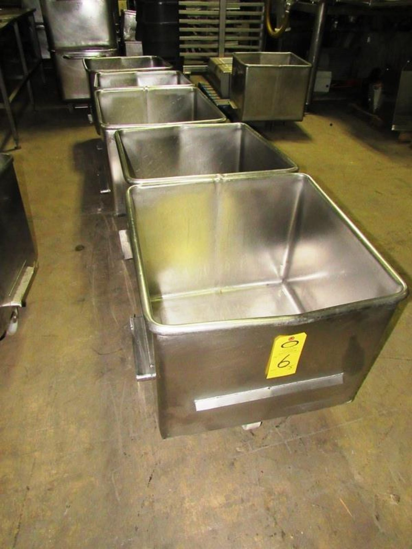 Lot 6 - Stainless Steel Dump Buggies, 400 LB capacity, rolled lip