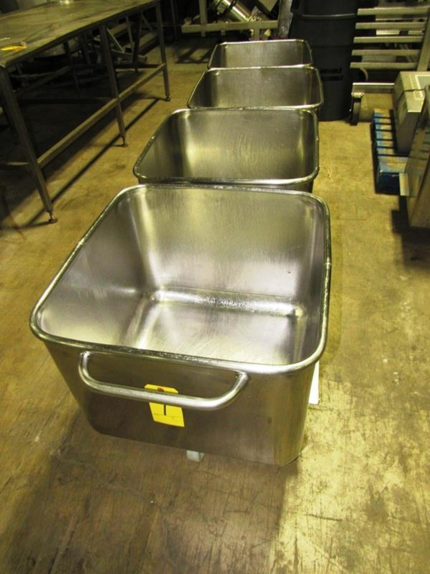 Lot 1 - Stainless Steel Dump Buggies, 400 LB capacity, rolled lip, handle