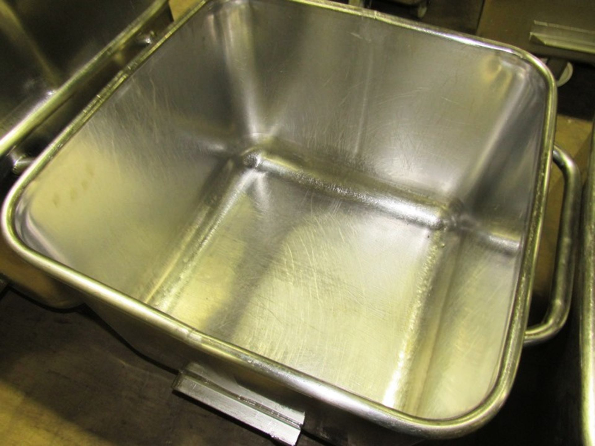 Lot 5 - Stainless Steel Dump Buggies, 400 LB capacity, rolled lip, handle
