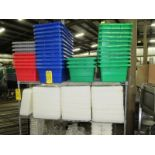"""Lot of Green/Blue/Red Plastic Totes, (34) 12"""" W X 24"""" L X 8"""" D, with (48) Lids, (4) Totes & (7) Lids"""