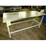 """Portable Stainless Steel Table, 30"""" W X 6' L X 35"""" T, mild steel legs"""