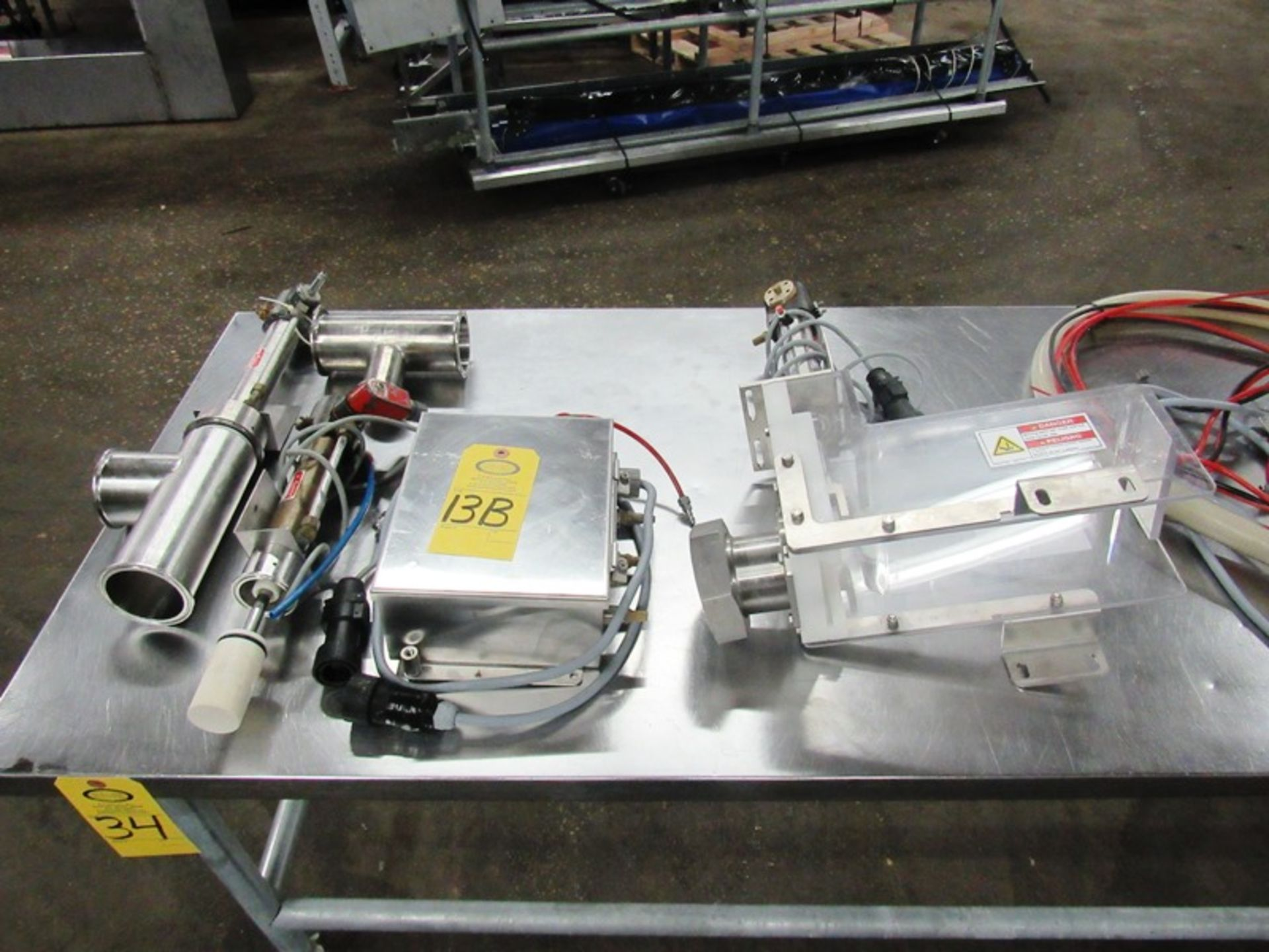 "Lot 13B - Vemag Stuffer Attachments, Guillotine cutter, Pneumatic pump, 3"" Dia. outlet & 2"" Dia. Outlet,"