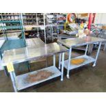 """Lot of Portable Stainless Steel Tables, (1) 30"""" W X 4' L X 35"""" T, mild steel legs (1) 24"""" W X 4' L X"""