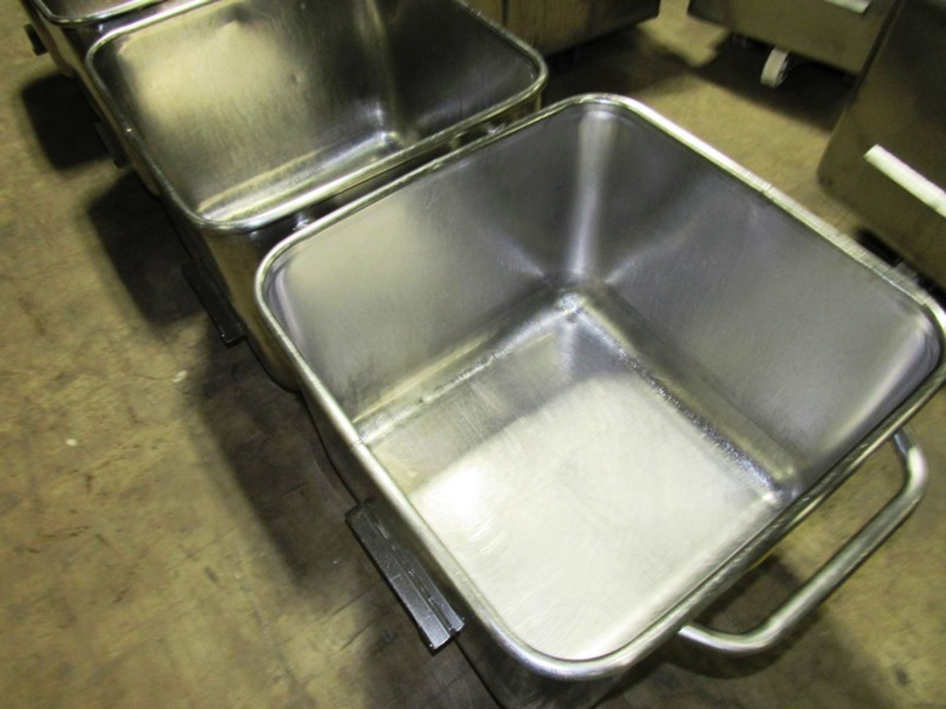 Lot 3 - Stainless Steel Dump Buggies, 400 LB capacity, rolled lip, handle