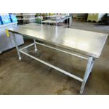 """Stainless Steel Table, 30"""" W X 6' L X 32"""" T, 2 wheels, galvanized legs"""
