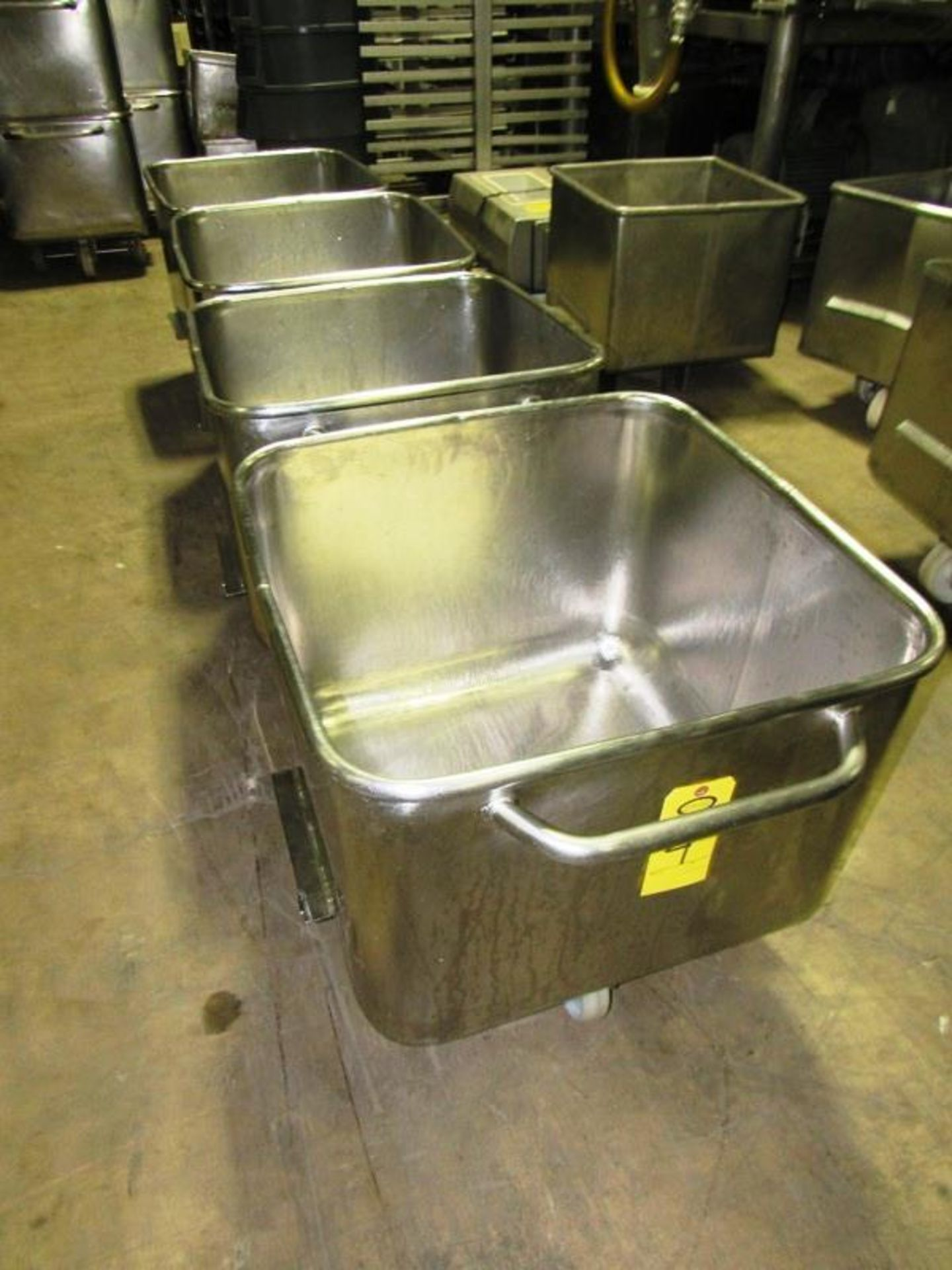 Lot 4 - Stainless Steel Dump Buggies, 400 LB capacity, rolled lip, handle