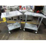 """Lot of Stainless Steel Tables (2) 24"""" W X 30"""" L X 36"""" T, mild steel legs & shelf, (1) missing wheel"""