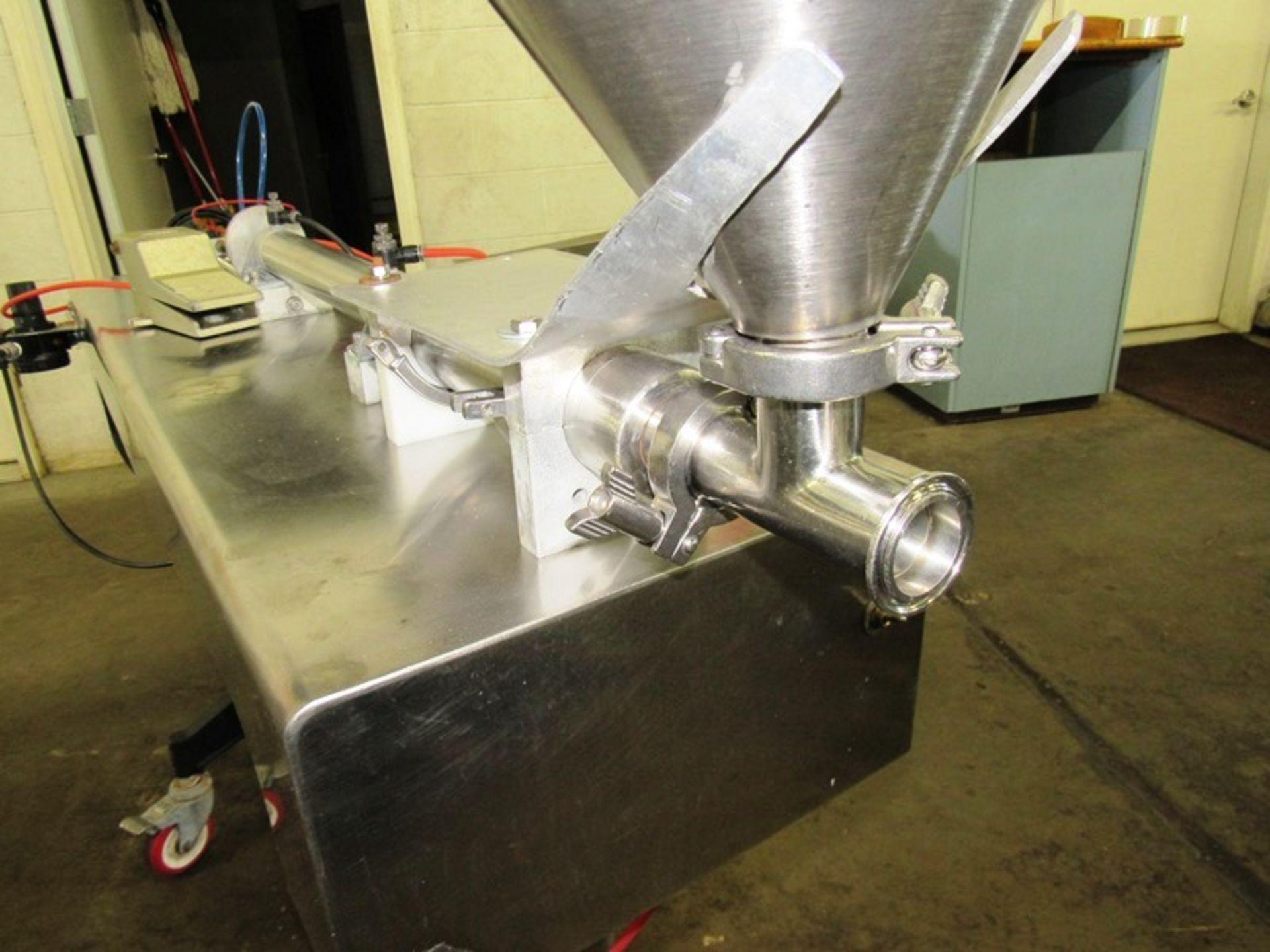 """Lot 19 - Accutek Stainless Steel Piston Filler, 17"""" Dia. X 20"""" D hopper, 12"""" stroke on cylinder, 1 1/2"""""""