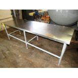 "Stainless Steel Table, 30"" W X 8' L X 32"" T, mild steel legs"