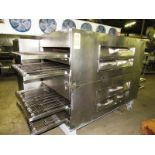 """Lincoln Double Deck, 4 conveyor Impingement Oven, 32"""" W X 106"""" L, stainless steel ladder chain"""
