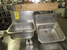 Lot of (3) Koch Stainless Steel Wall Mount Sinks, knee pedal activation, (1) no paddles