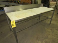 """Stainless Steel Table, 30"""" W X 6' L X 32"""" T, poly tops, 6"""" backsplash"""