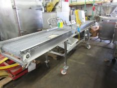 """Portable Conveyor, 20"""" W X 150"""" L stainless steel belt with EcoCave sanitizing spray bar with 3"""