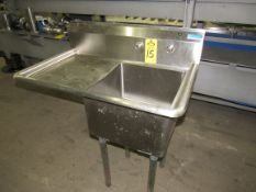 """Stainless Steel Sink, 22"""" W X 38"""" L X 43"""" T, single tub 18"""" X 18"""" X 12"""" D, 16"""" sideboard, space"""