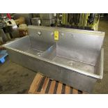 """Stainless Steel Sink, 25"""" W X 62"""" L, (2) tubs 31"""" L X 25"""" W X 13"""" D, space for (2) faucets, no legs"""