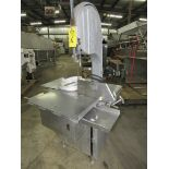 "Biro Bandsaw, stainless steel contact table, aluminum head 16"" cutting area, broken top hinge"
