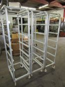 "Aluminum Racks, 16"" W X 26"" L X 6' T, 6 spaces for trays"