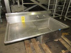 "Stainless Steel Sink, 26"" W X 48"" L single tub, 23"" X 23"" L X 12"" D, 22"" sideboard, no legs"