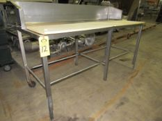 """Stainless Steel Table, 30"""" W X 6' L X 37"""" T, poly tops, 10"""" backsplash"""