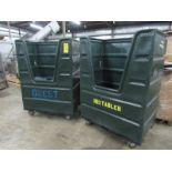 """Lot of (2) Plastic Utility Carts, 28"""" W X 48"""" L X 68"""" T"""
