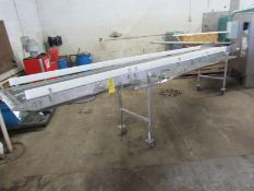 "Portable Conveyor, 24"" W X 17' L stainless steel belt, stainless steel drip pan, adjustable"