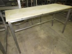 """Lot of (2) Stainless Steel Tables, (1) 24"""" W X 60"""" L X 33"""" T, poly tops, (1) 36"""" W X 60"""" L X 33"""""""