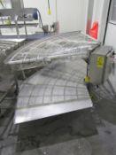 "JBT Food Tech Mdl. FIO Stainless Steel Turn Conveyor, 43"" W X 7' L ladder chain belt, stainless"