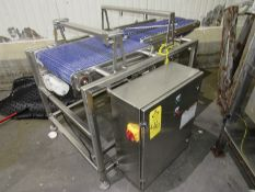 """Stainless Steel Conveyor, 20"""" W X 24"""" L with (2) belts, 5' W X 36"""" L, 220 volts (Located in Plano,"""