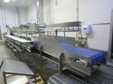 """FS Group Stainless Steel Boning Conveyor, 20"""" W X 30' L main belt, 6-work stations, each side with"""