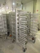 """Stainless Steel Smoke Trucks, 43"""" W X 42"""" L X 6' T, 15 shelves, 3 1/2"""" spacing, 47"""" wide overall ("""