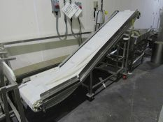 """Portable Stainless Steel Incline Conveyor, 18"""" W X 111' L flighted belt, 2"""" tall flights, spaced 16"""""""