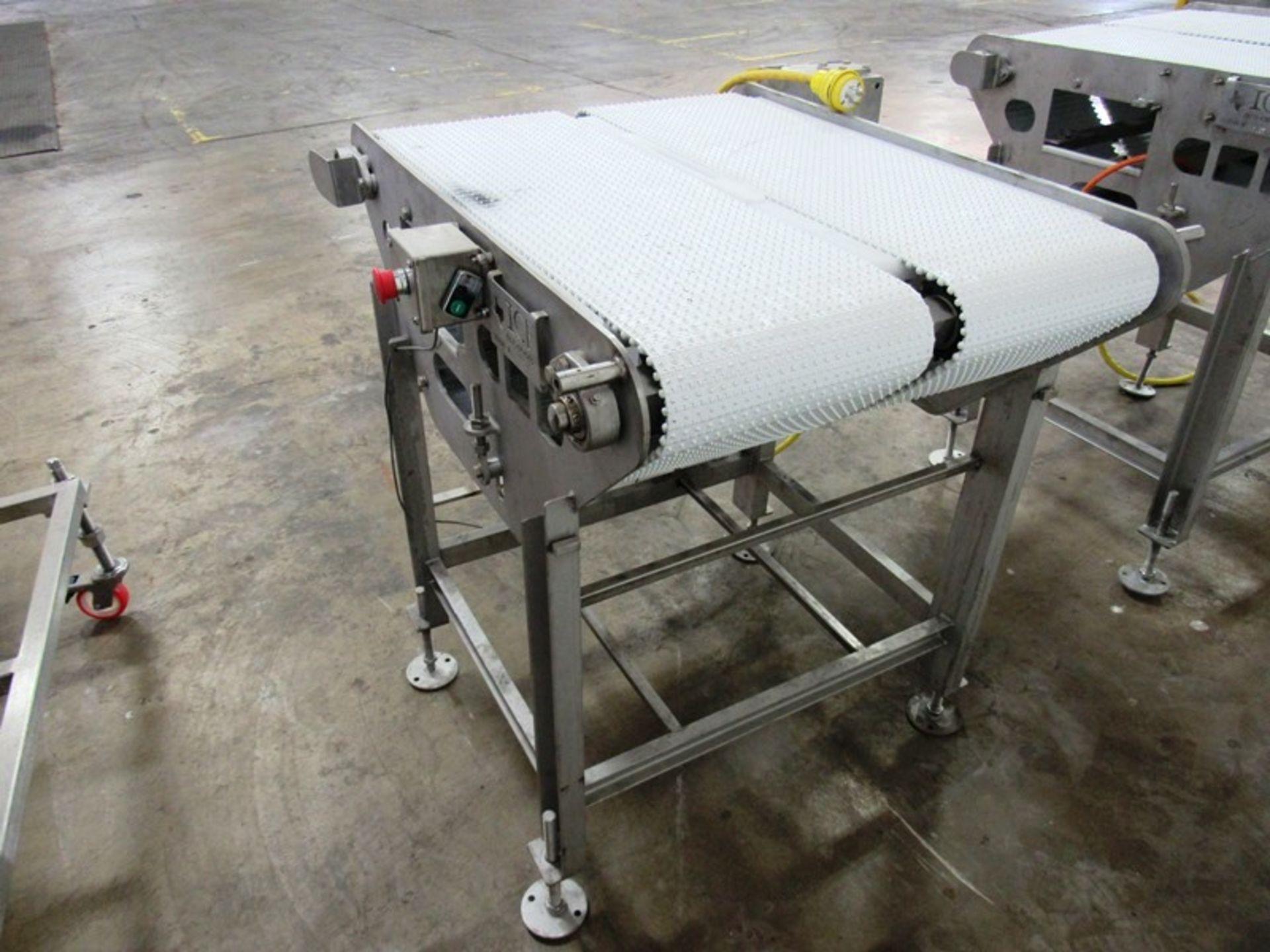 "ICF Stainless Steel Double Belt Conveyor, each belt 12"" W X 36"" L, 1 h.p., stainless steel motor, - Image 2 of 3"