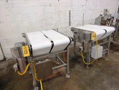 "ICF Stainless Steel Double Belt Conveyor, each belt 12"" W X 36"" L, 1 h.p., stainless steel motor,"