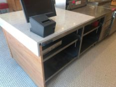 "DESCRIPTION: 40"" X 68"" STAINLESS SALES COUNTER W/ 40"" X 38"" WHITE GRANITE TOP BRAND / MODEL: WASSERS"