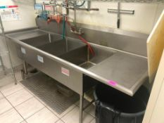 "DESCRIPTION: 102"" X 34"" THREE WELL STAINLESS POT SINK W/ LEFT AND RIGHT DRY BOARDS. ADDITIONAL INFOR"