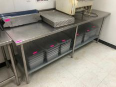 "DESCRIPTION: 8' X 30"" STAINLESS TABLE W/ GALVANIZED UNDER SHELF. ADDITIONAL INFORMATION: NO CONTENTS"