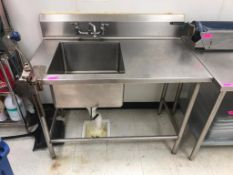 "DESCRIPTION: 48"" ALL STAINLESS PREP SINK W/ MOUNTED CAN OPENER BRAND / MODEL: WASSERSTROM ADDITIONAL"
