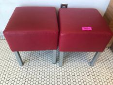 "DESCRIPTION: (3) 14"" X 14"" RED VINYL SEAT CUSHIONS SIZE: 14"" X 14"" LOCATION: KITCHEN THIS LOT IS: SO"
