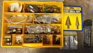 DESCRIPTION ASSORTED HARDWARE AND BITS AS SHOWN LOCATION BASEMENT THIS LOT IS ONE MONEY QUANTITY 1