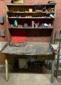 """DESCRIPTION 48"""" X 30"""" X 74"""" WORK BENCH W/ TABLE MOUNTED VISE (CONTENTS INCLUDED) LOCATION D THIS LOT"""