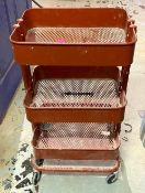"""DESCRIPTION (2) 16"""" X 12"""" X 30"""" 3-TIER RACK ON CASTERS LOCATION BASEMENT: TOOL ROOM THIS LOT IS SOLD"""