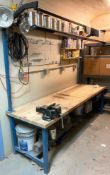"""DESCRIPTION 96"""" X 30"""" WOODEN TOPPED WORKBENCH WITH (2) LED MOUNTED FIXTURES LOCATION BASEMENT: TOOL"""