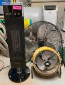 DESCRIPTION ASSORTED FANS AND CERAMIC HEATER AS SHOWN LOCATION BASEMENT: TOOL ROOM THIS LOT IS ONE M