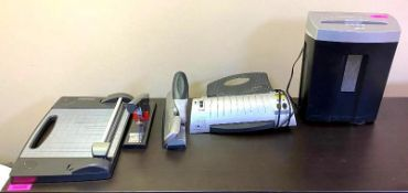 DESCRIPTION: PAPER SHREDDER, SCANNER, HOLE PUNCH, STAPLER AND CUTTER THIS LOT IS: ONE MONEY QTY: 1