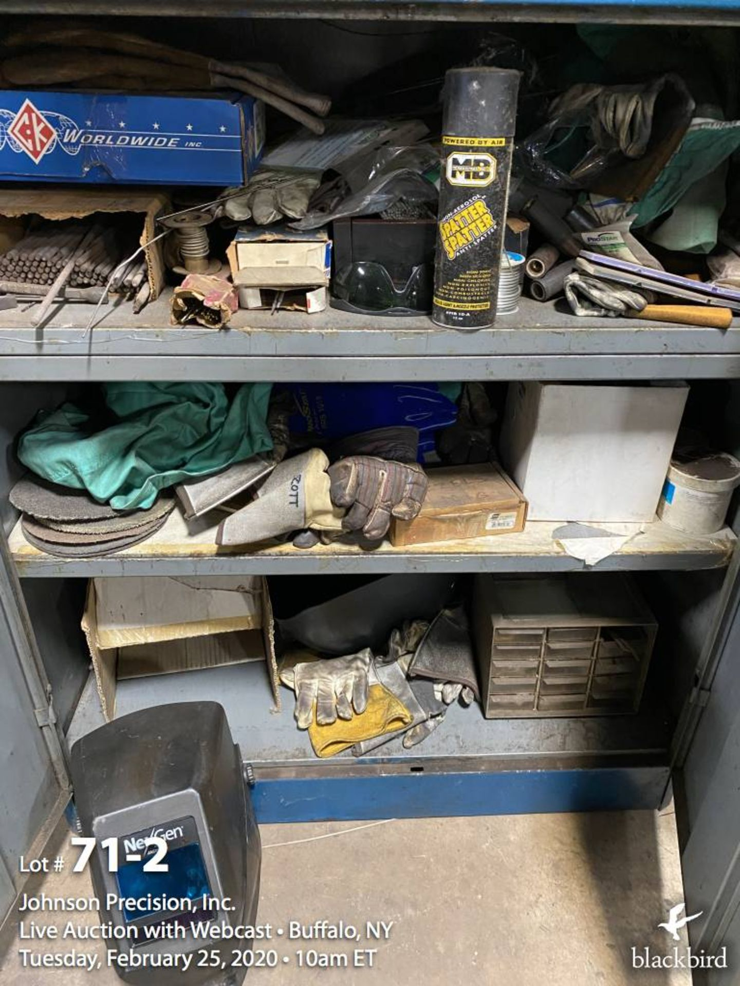 Lot 71 - Cabinet with welding items