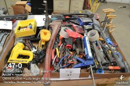 (Lot): Assorted shop hand tools, hacksaws, hammers, files, Allen wrenches, Stanley electric stapler,