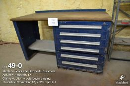 Shop table 30 in x 60 in w/6 rolling drawers