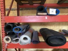 (Lot): Contents of pallet rack, various ceramic, vinyl and rubber flooring materials