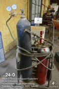 Oxygen and Acetylene cutting torch set (victor) w/hoses, gauges, bottles and cart